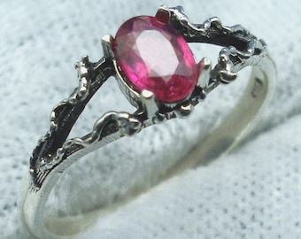 Natural Ruby Mythological Stone Protector Ring, July birthstone, Recycled Sterling Silver