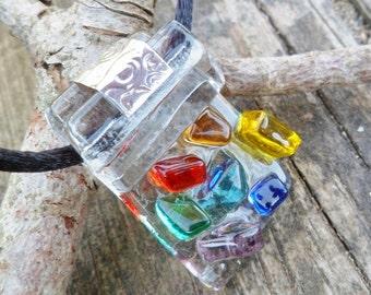 7 Chakras Pendant. Fused Glass Pendant. Murano Glass Jewelry. Handmade Fused Glass. Chakra Pendant. Tack Fusing Pendant.