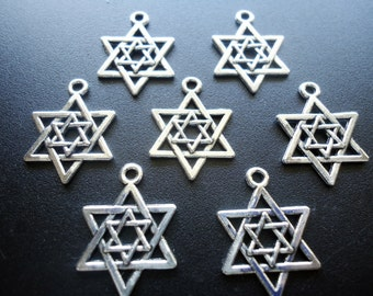 Nested Star of David Charms / Pendants - Antique Silver - 21mm x 16mm