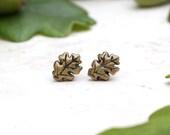 Oak Leaf Earrings, Autumn Jewellery, Fall Stud Earrings, Oak Leaf Jewelry, Leaf Posts, Oak Leaves, Tree Earrings, Fall Jewelry, Hand Carved