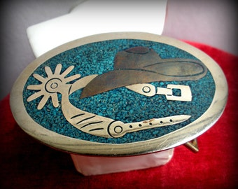 Spur and Cowboy Hat Mexican Buckle