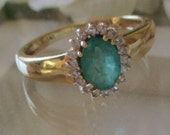 SUMMER SALE  Natural Emerald Ring - Diamonds 14K Yellow Gold Ladies Ring Size 6 May Birthstone