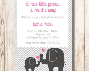 Pink,Grey, Elephant, Baby Shower, Invite, girl