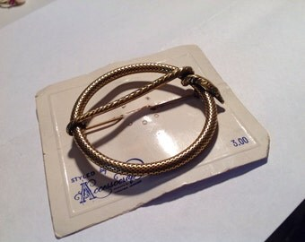 Antique gold tone snake brooch new old stock