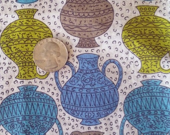 Vintage 40s 50s Ancient Greek Vases Print Cotton Fabric Quilting, etc. 26 in by 25 Unused