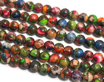 8mm LARGE HOLE Mixed Impression Jasper round gemstone beads, 8 inch strand (1194S)