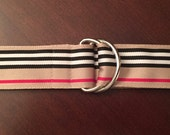 Women's Tan, Black, Red and White Ribbon Belt