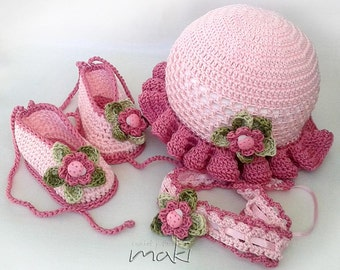Crochet pattern - LEA Baby set hat, booties and headband. Permission to sell finished items.