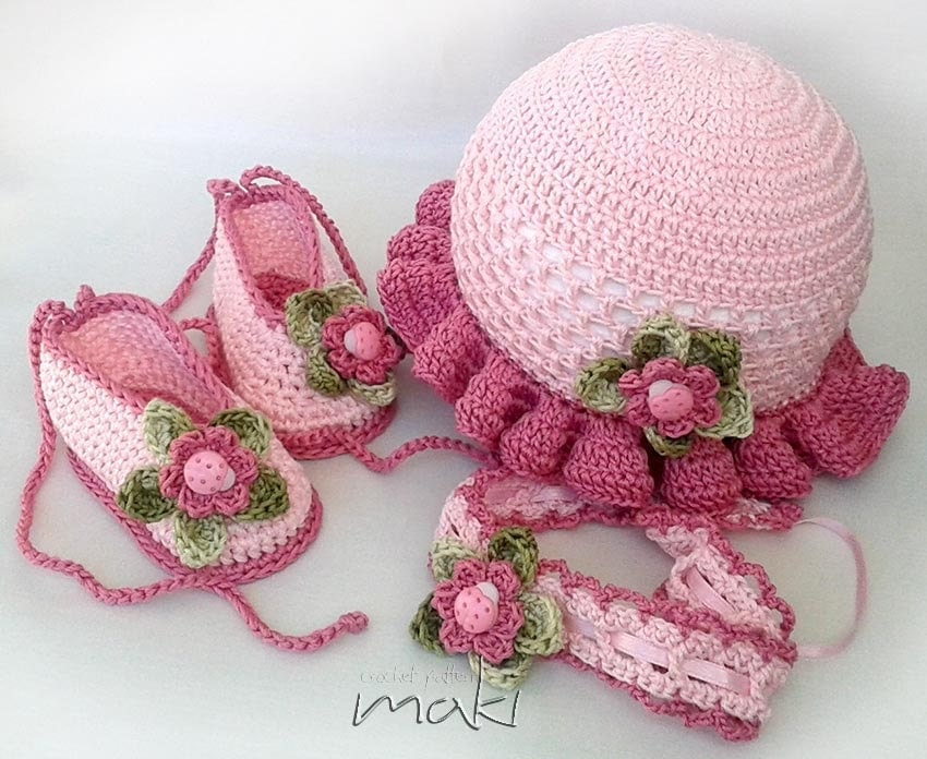 Crochet pattern LEA Baby set hat booties and headband.