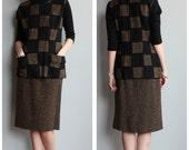 1960s Set // Checkmate Sweater & Skirt Set // vintage 60s 2pc set