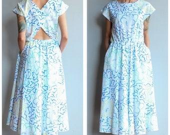 1980s Dress // Floral Cutout Dress // vintage 80s dress
