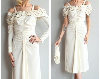 1940s Dress // Audrée Gay Crepe & Sequin Dress // vintage 40s dress