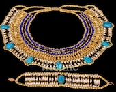LRG Egyptian Cleopatra Beaded Scarab Necklace &Bracelet Mega Sale