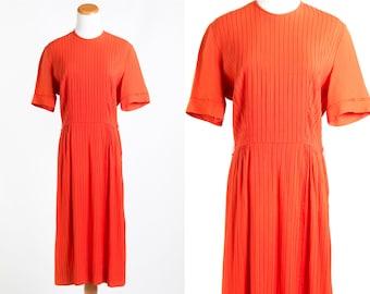 Vintage 1960s Rust Orange Pleated Shirt Waist Dress // Rockabilly Cocktail Preppy Pumpkin 60s Simple Classic Short Sleeve Knee Length
