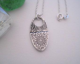 Silver Layered Oval Necklace