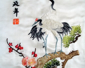 CHINESE EMBROIDERY--- Living as LONG as a pine and crane