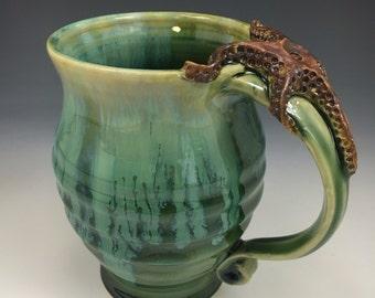 STARFISH Handmade Pottery Coffee Mug Emerald Green