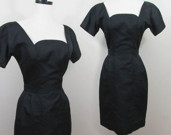 Mr. Mort Black Faille Dress - Fitted dress with unique neckline - 1960s - Sm