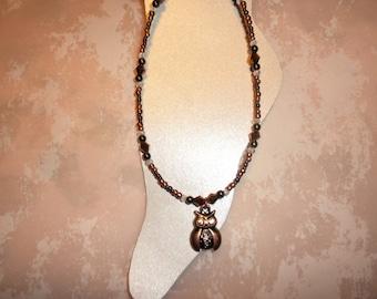Antique Copper Owl Ankle Bracelet