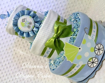 Baby Diaper Cakes Boys Shower Centerpieces & Party Package
