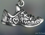 I Love Running Charm Sterling Silver Shoe Sneaker Runners Solid .925