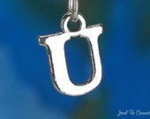 Letter U Charm Sterling Silver Alphabet Initial Capital Letters .925