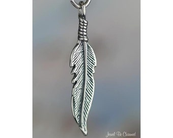 Sterling Silver Eagle Feather Charm One Sided Feathers Solid .925
