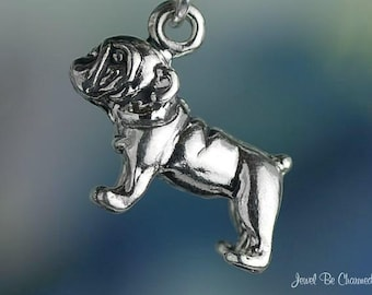 Sterling Silver English Bulldog Charm Bulldogs Dog Breed 3D Solid .925