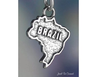 Sterling Silver Brazil Charm Country Brazilian Heritage Solid .925