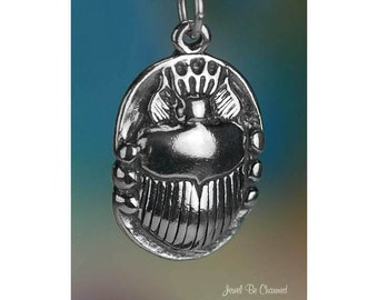 Sterling Silver Scarab Charm Ancient Egyptian Amulet Beetle Solid .925