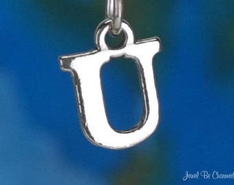 Sterling Silver Capital Letter U Charm Initial Alphabet Solid .925