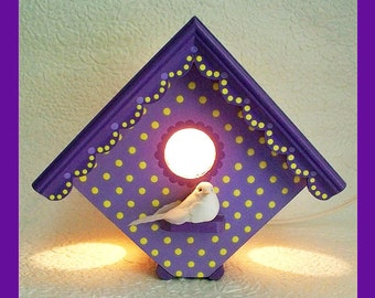 Girls Birdhouse Night Light-Nursery Lamp