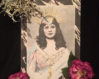 Antique Photo Postcard - Beautiful Woman in Pastel with Gold Spike Crown - Long Hair