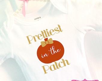Pumpkin Patch Bodysuit, sparkly baby shirt, glitter baby shirt, baby girl, Prettiest Pumpkin in the Patch, Sparkle bodysuit, pumpkin patch