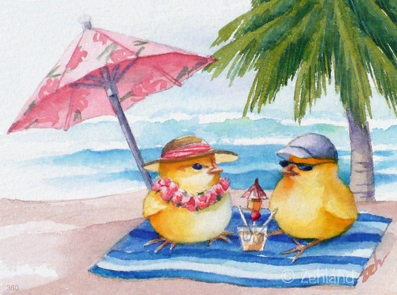 Hawaii Art Print Chicken Artwork Two Chicks on Waikiki Beach Limited Edition by Janet Zeh