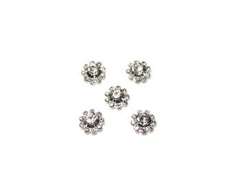 Clear Rhinestone Flat Back Buttons - 12 mm - Wholesale Rhinestone Cabochons- Headband Supplies