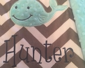Blanket, personalized blanket, whale blanket, with name and DOB, whale blanket 29 x 25