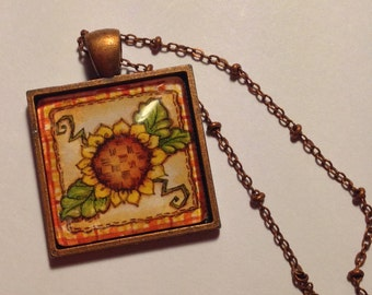 Hand Made Pendant  --  NEW  -- Sunflower Pendant  --  Handmade Necklace  --  One of a Kind  --  (#1577)