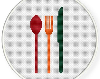 INSTANT DOWNLOAD,Free shipping ,Cross stitch pattern, Cross-Stitch PDF,colorful spoons