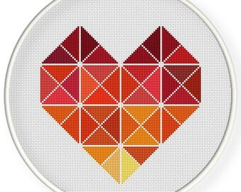 INSTANT DOWNLOAD,Free shippingCounted Cross-Stitch PDF,colorful heart,zxxc0655