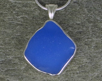 Cornflower Blue Sea Glass Bezel Pendant Necklace