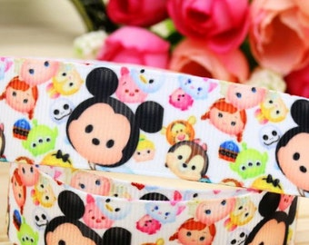"Disney Tsum Tsum 7/8"" Grosgrain Ribbon, Printed Ribbon, Hairbow ribbon, Sewing Ribbon, Scrapbook"