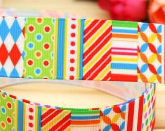 Lot 3 yards Grosgrain Ribbon, Retro  Pattern Round Dots Lines,  Printed Ribbon, Hairbow ribbon, Sewing Ribbon, Scrapbook