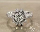 1 Carat Diamond Engagement Ring in 18k White Gold Art Deco Engagement Ring / EdwardianEngagement Ring