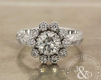 1 Carat Diamond Engagement Ring in 18k White Gold Art Deco Engagement Ring / Edwardian Engagement Ring