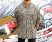 Vintage Geometric Print Shirt, 90s Cotton Linen Blend Short Sleeved Designer Mens Button Up Shirt, De La Soul Tribe Called Quest Hip Hop, XL