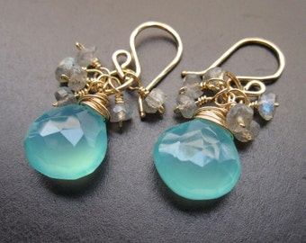 Sea blue chalcedony and labradorite earrings