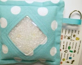 I Spy Bag Aqua White Polka Dots Neutral themed contents girls boys seek and find game party favor sensory occupational therapy