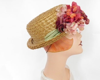 Vintage boater hat, straw with flowers, 1930s