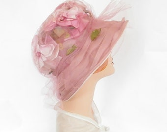 Vintage 1960s hat, mauve pink with flowers, tulle,